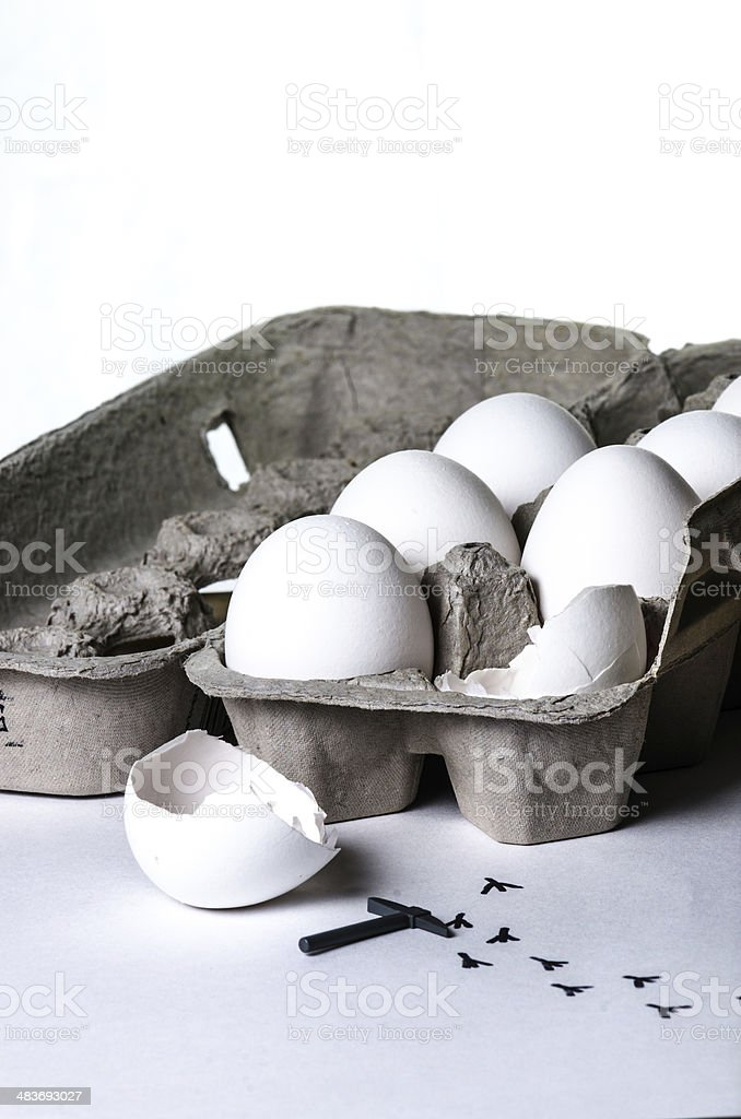 Escape from an egg stock photo