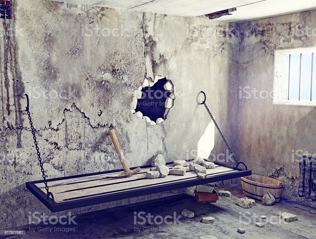 escape from prison cell stock photo