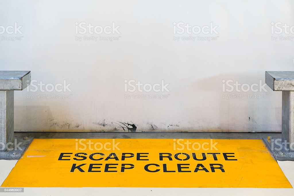 Escape route blocked by wall with copy space, clipping path stock photo