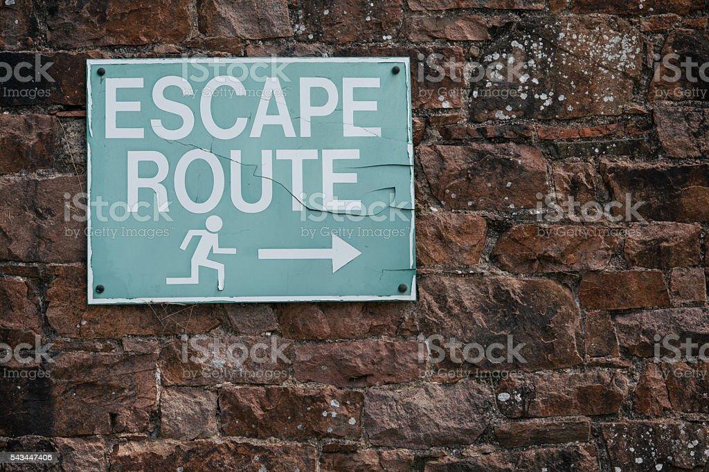 Escape route indicator stock photo