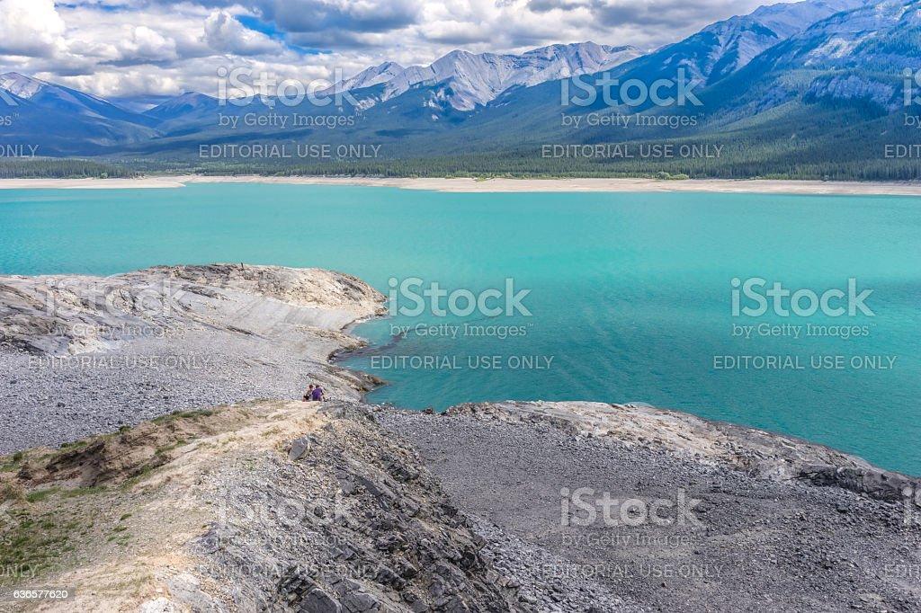 Escape to Abraham Lake, Alberta, Canada stock photo