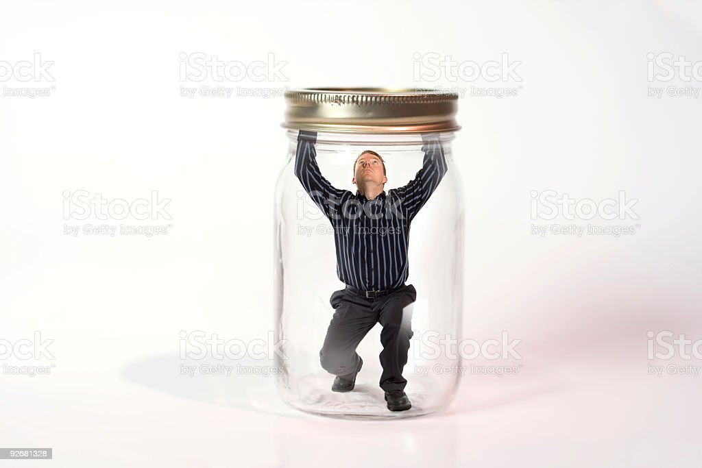 Escaping from a jar stock photo