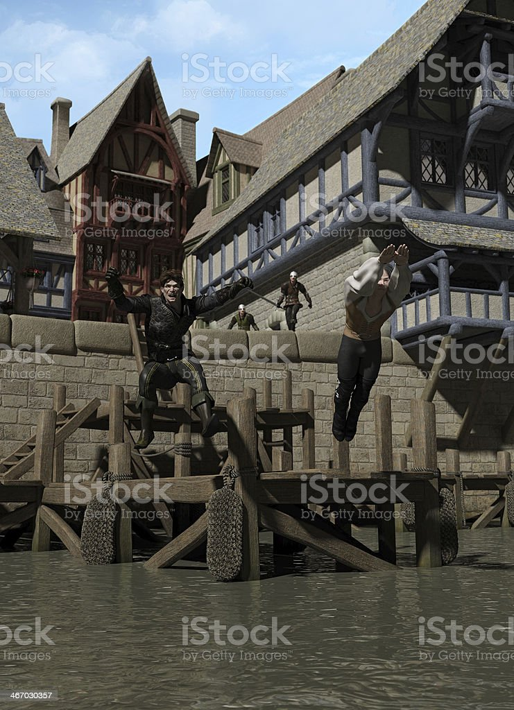 Escaping from the Town Guard royalty-free stock photo