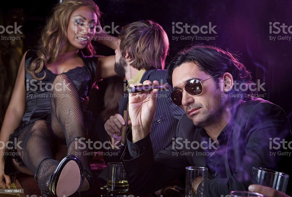 escaping in night club royalty-free stock photo