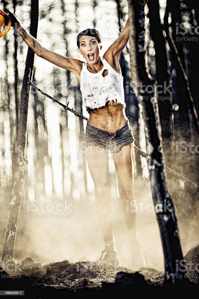 Escaping the woods fire stock photo