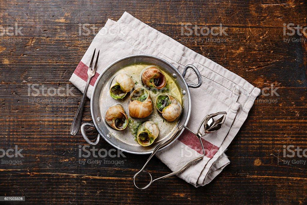 Escargot Snails with garlic herbs butter – Foto