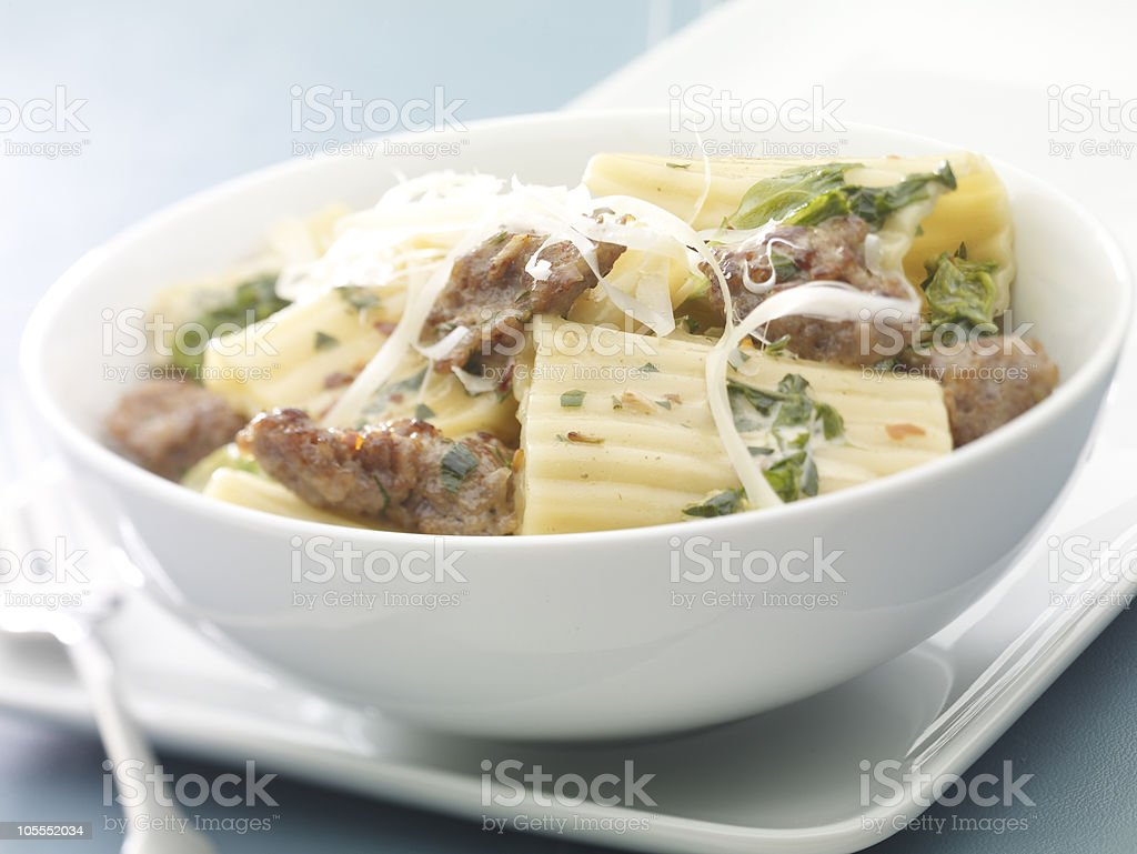 Escarole Sausage Pasta royalty-free stock photo