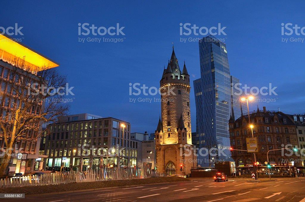 Eschenheimer Turm and Jumeirah Hotel at night, Frankfurt stock photo