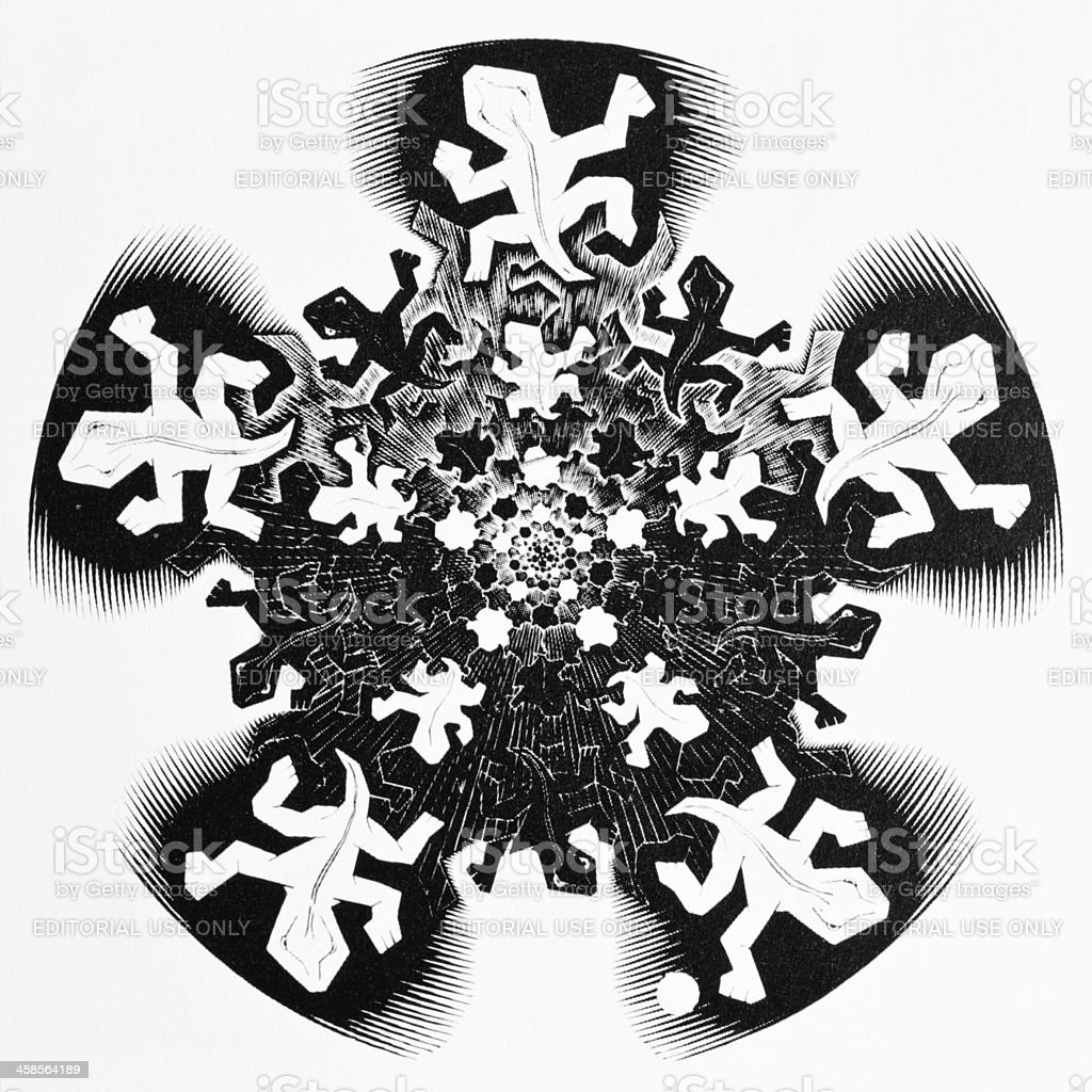 MC Escher - Development 2 (initial study, 1939) royalty-free stock photo