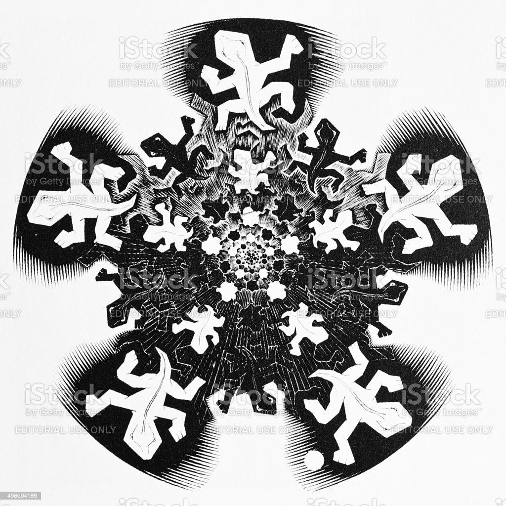MC Escher - Development 2 (initial study, 1939) stock photo
