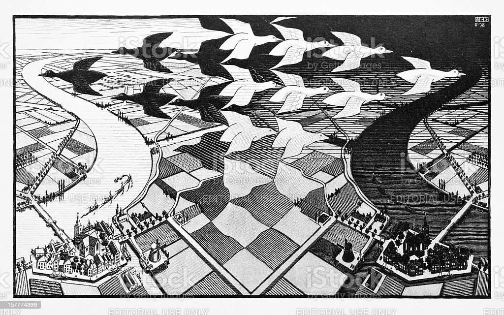 MC Escher's woodcut print 'Day and Night' (1938) stock photo