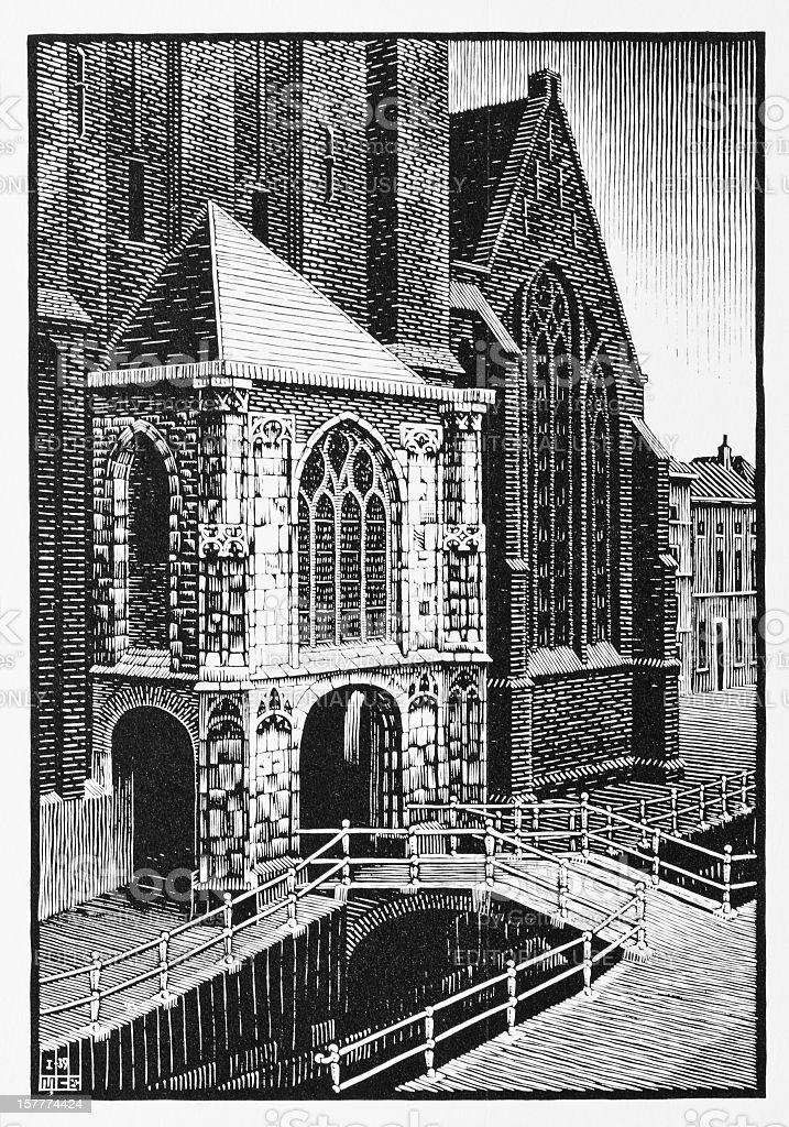 MC Escher's woodcut print of entrance Oude Kerk, Delft (1939) stock photo