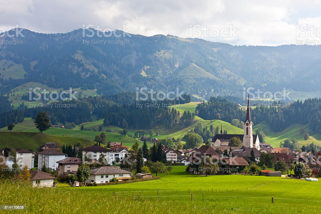 Escholzmatt in the Entlebuch on an afternoon in late summer stock photo