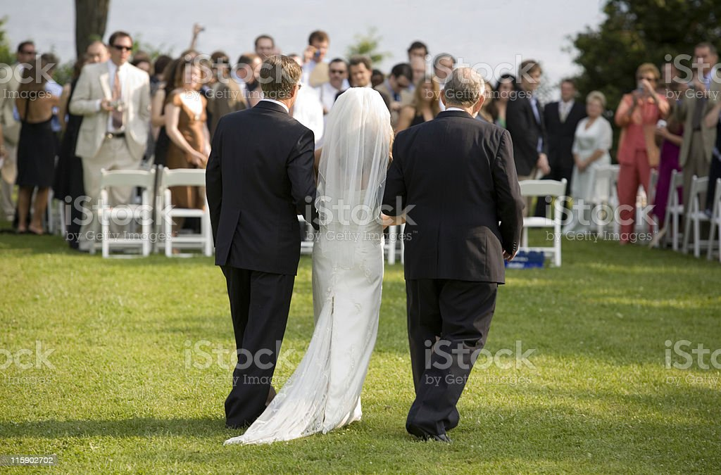 Escorting the Bride royalty-free stock photo