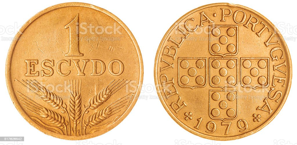 escudo 1979 coin isolated on white background, Portugal stock photo