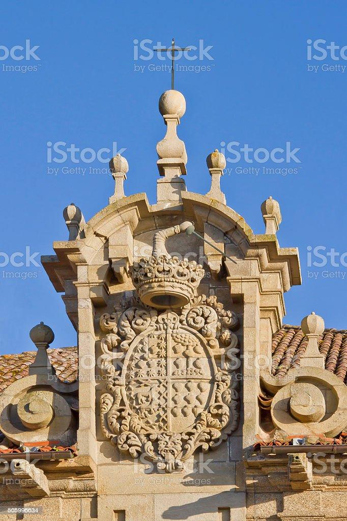 Escudo del pazo de Montesacro en Cambados stock photo