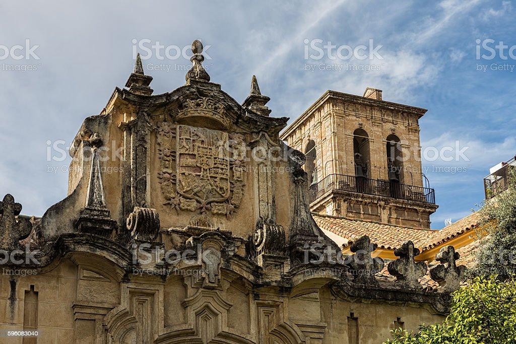 Escudo y campanario stock photo