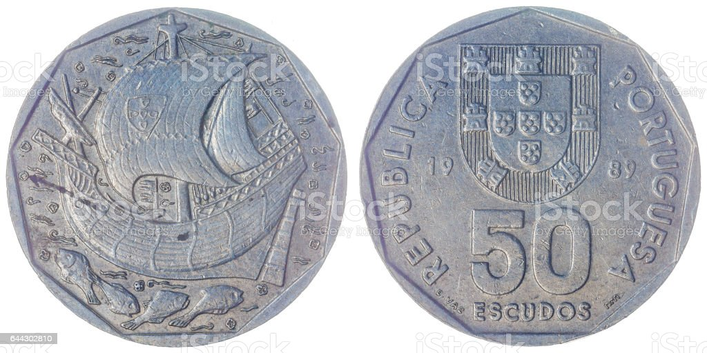 50 escudos 1989 coin isolated on white background, Portugal stock photo