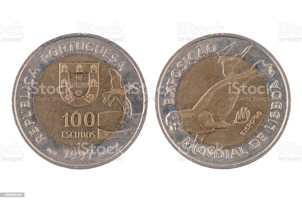 '100 escudos' Portuguese coin stock photo