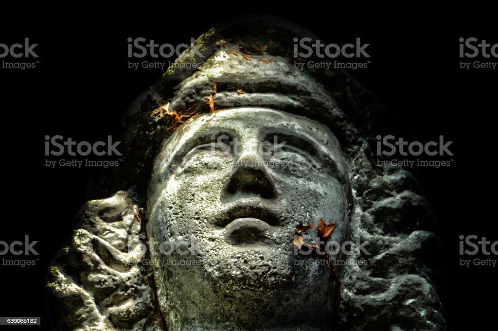 Escultura de un rostro stock photo