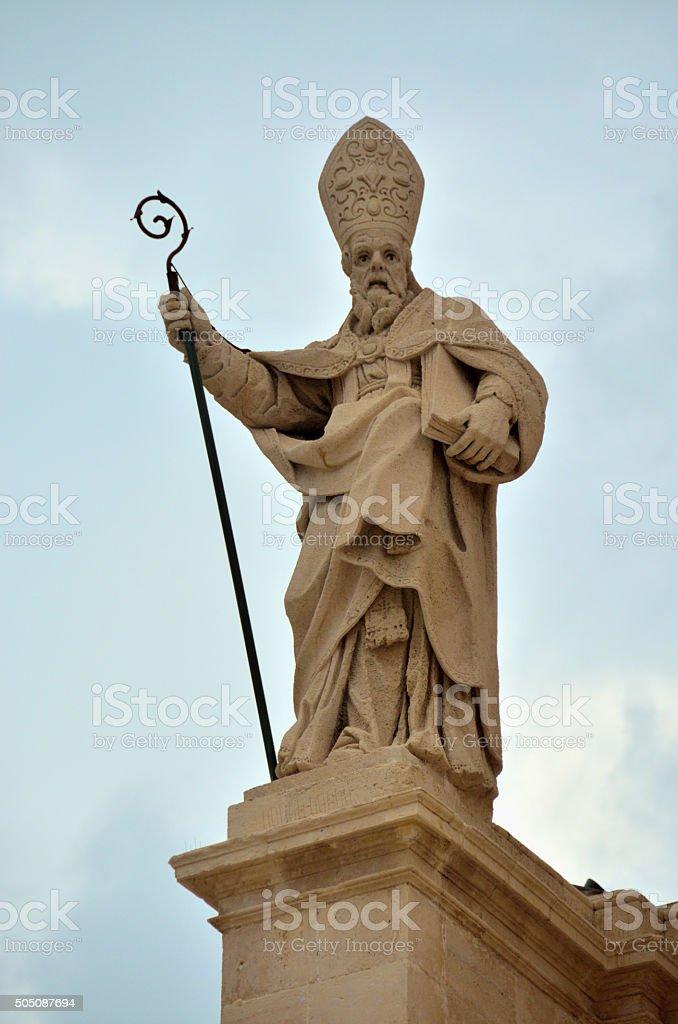Escultura religiosa en Siracusa, Sicilia stock photo