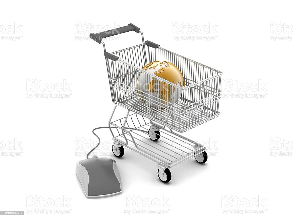 E-shopping - shopping cart, computer mouse and earth globe royalty-free stock photo