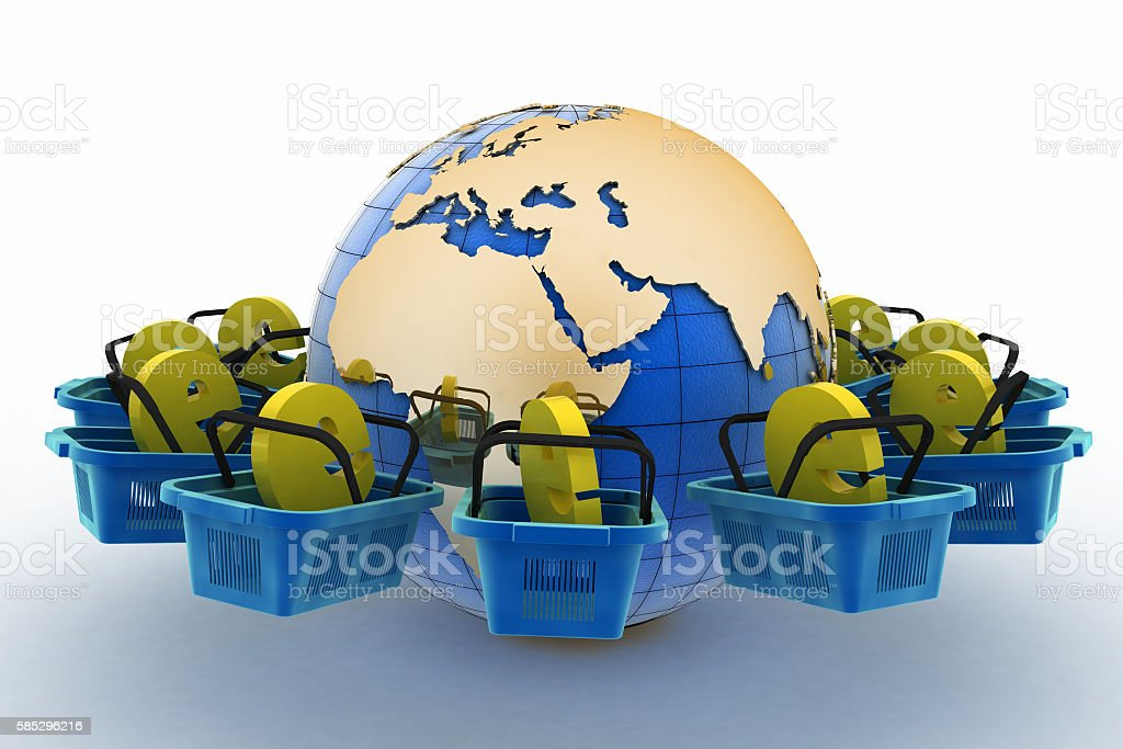 E-sign e-commerce shopping baskets around the globe on a white. stock photo