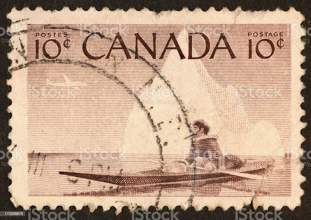 Eskimo kayak stamp royalty-free stock photo