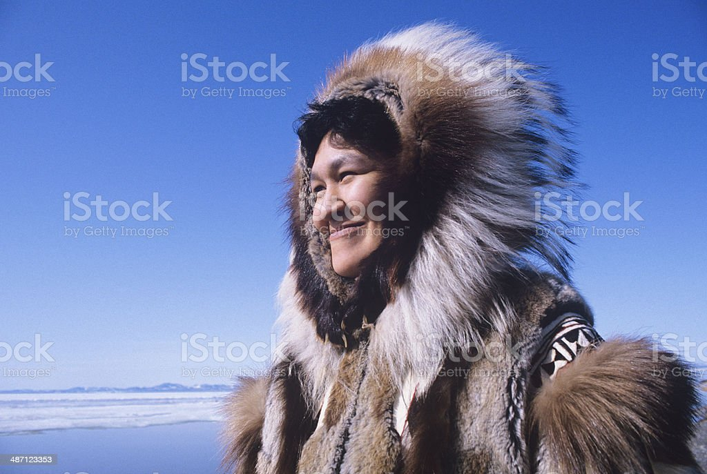 Eskimo Woman In Traditional Clothing stock photo