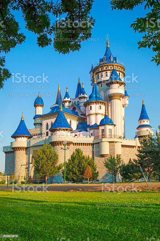 Eskisehir Sazova park fairy tale castle stock photo