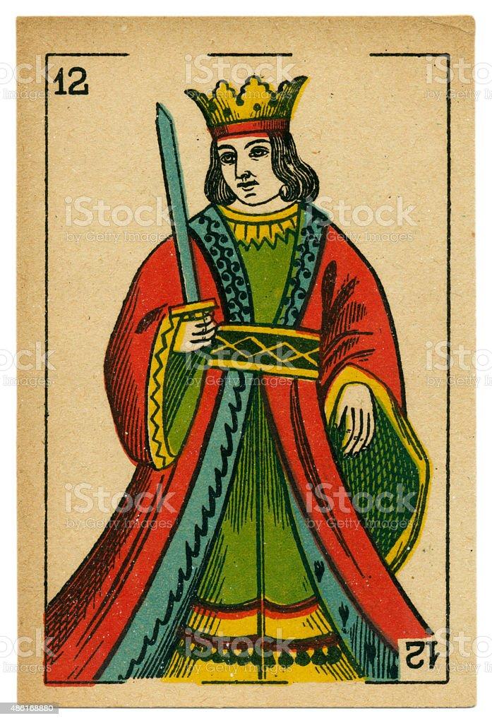 Espadas king playing card baraja 19th century 1878 stock photo