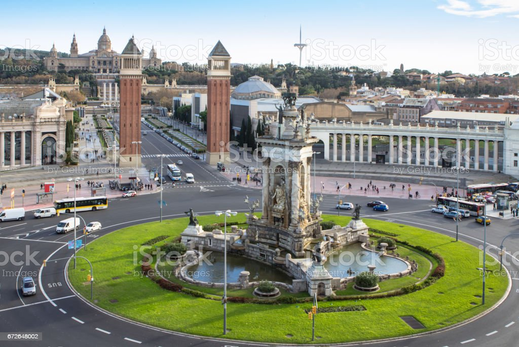 Espanya Square in Barcelona and National Palace stock photo