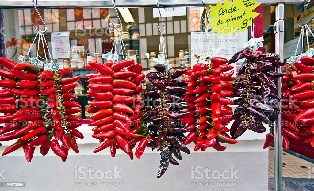 Espelette Red Peppers in the market stock photo