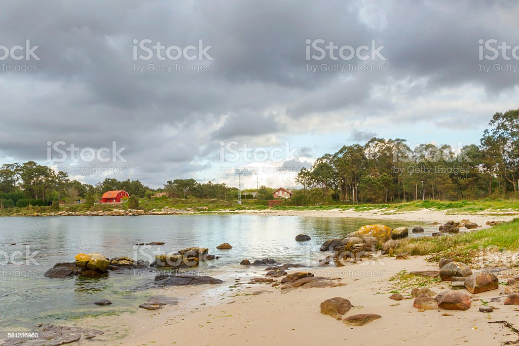 Espineiro beach with thunderclouds stock photo