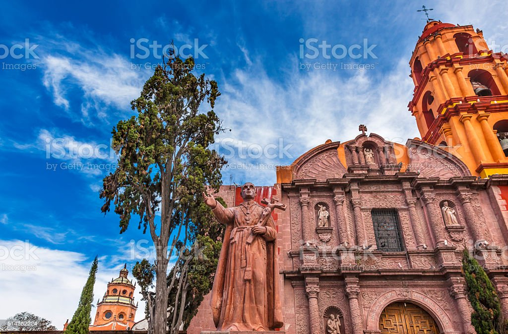 Espinosa Statue San Felipe Church San Miguel de Allende Mexico stock photo