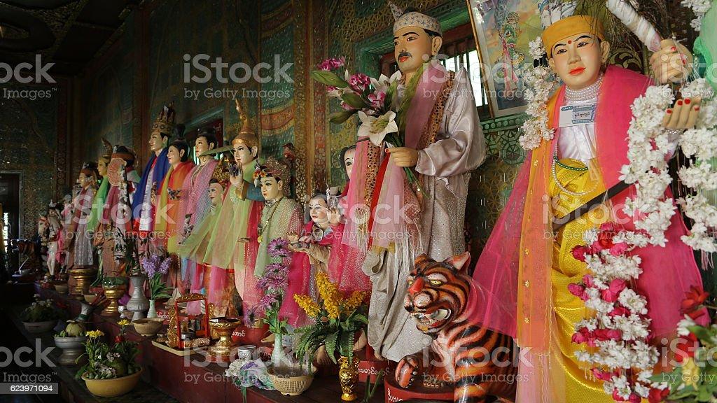 Espiritual guardians, Taung Kalat, Pedestal Hill, Popa Mount, Myanmar stock photo