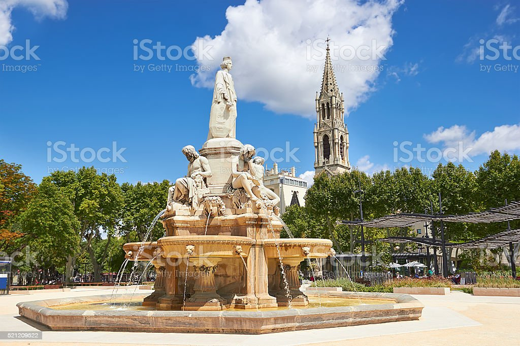 Esplanade Charles de Gaulle of Nimes. Provence, France stock photo