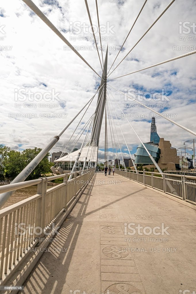 Esplanade Riel, Winnipeg, Manitoba With Canadian Museum for Human Rights stock photo
