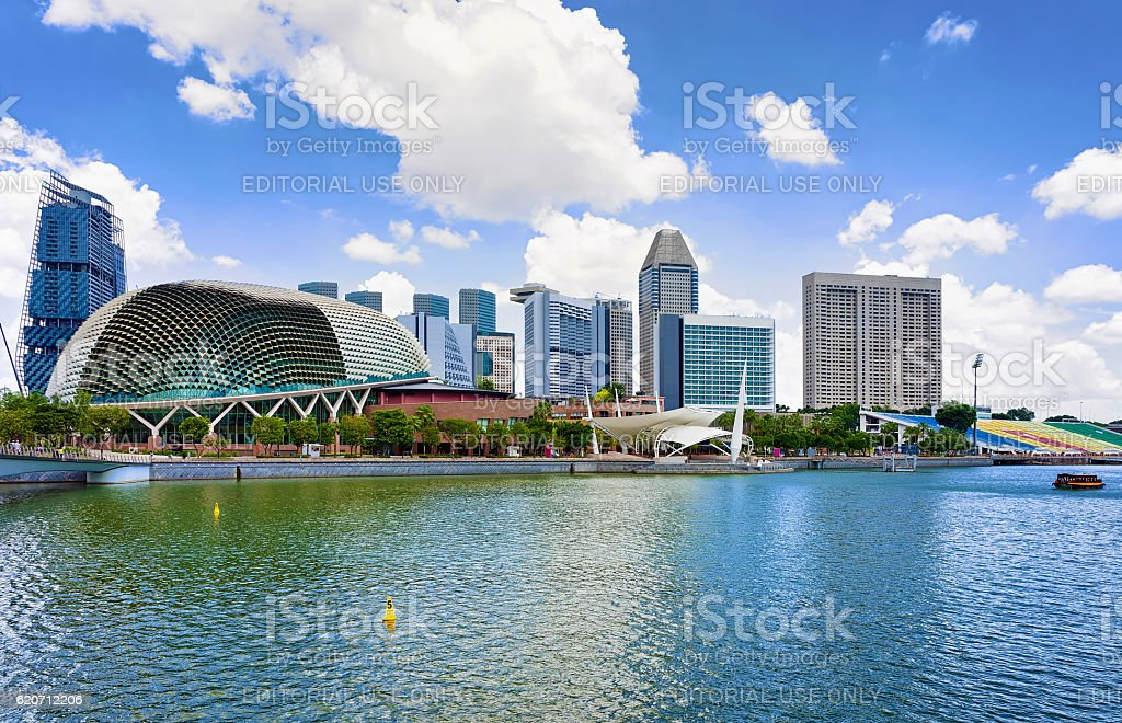 Esplanade Theaters on the Bay in the center of Singapore stock photo