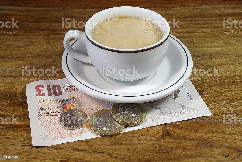 Espresso and British Money royalty-free stock photo