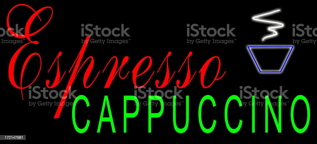 Espresso and Cappuccino Neon Sign stock photo