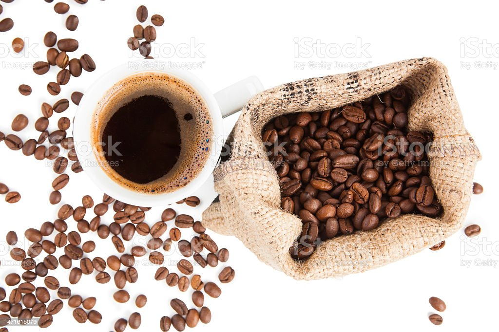 Espresso and coffee beans in brown sack. royalty-free stock photo