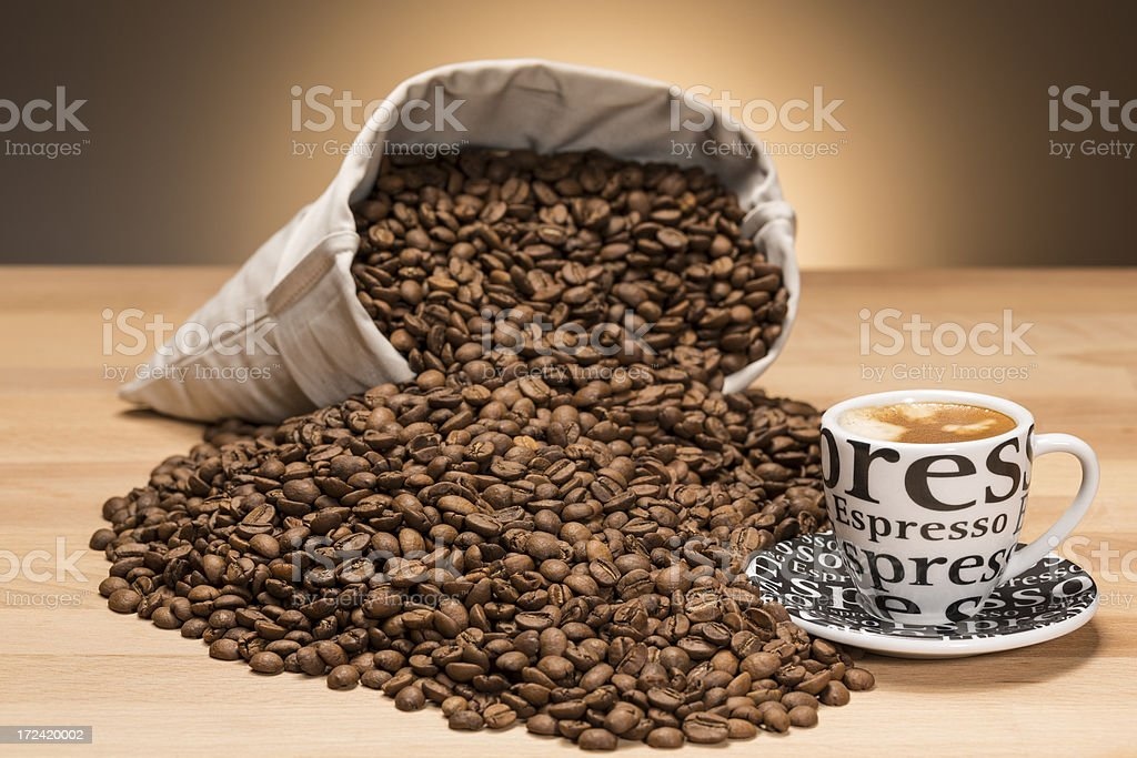 espresso and coffee beans royalty-free stock photo