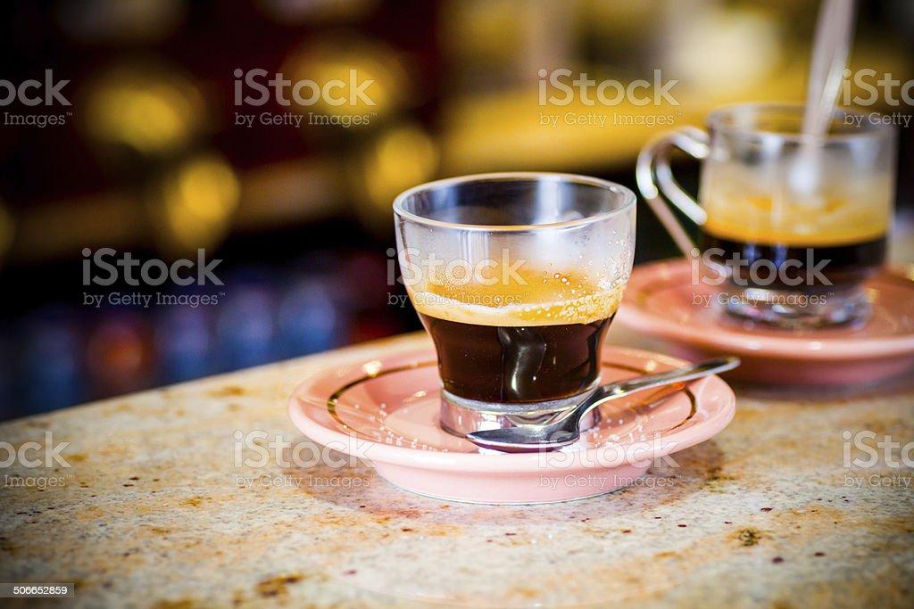 Espresso Coffe On Bar royalty-free stock photo