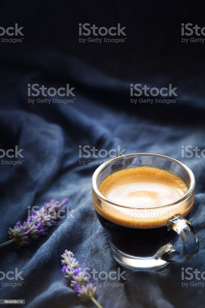 Espresso coffee against dark background stock photo