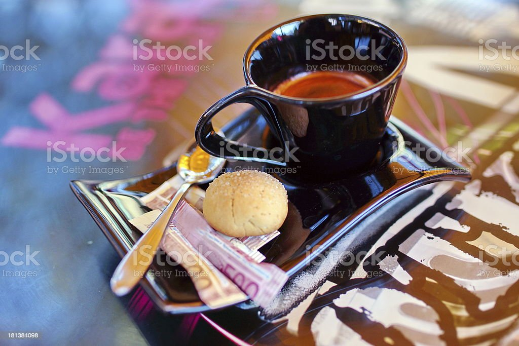 Espresso coffee and cake. royalty-free stock photo