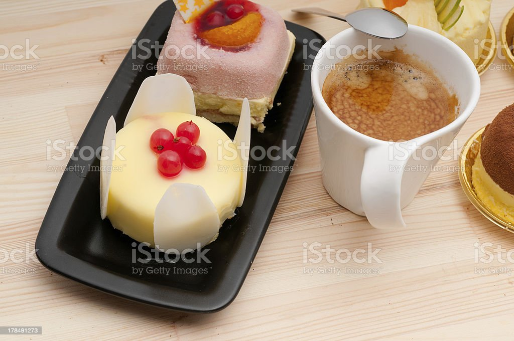 espresso coffee and  fruit cake royalty-free stock photo