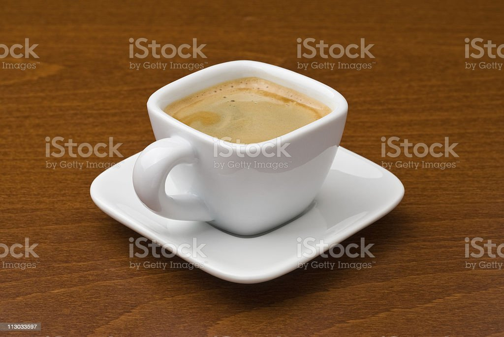 Espresso coffee cup on table stock photo