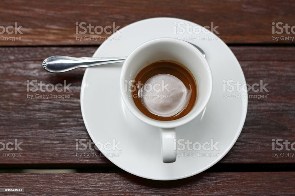 Espresso coffee cup on the wooden table. royalty-free stock photo