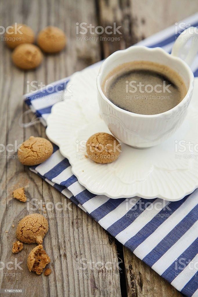 Espresso coffee cup with amarettini royalty-free stock photo